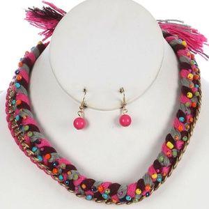 Jewelry - Braided Yard Bib Necklace Set Multi Color Trim